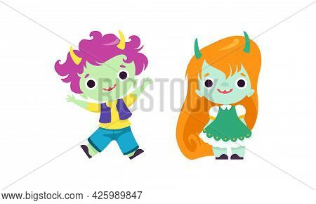 Tiny Troll Characters Set, Funny Boy And Girl Fantasy Creatures With Different Hair Color Cartoon Ve