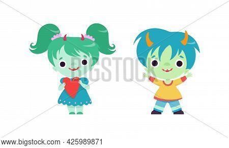 Tiny Troll Characters Set, Funny Boy And Girl Fantasy Creatures Cartoon Vector Illustration