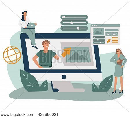 Marketing Team Working On Personal Brand, Creating Corporate Identity, Advertising Profile Or Web Si
