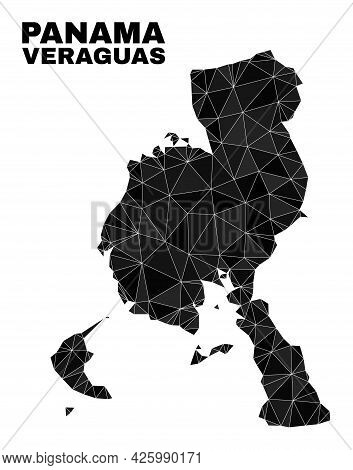 Lowpoly Veraguas Province Map. Polygonal Veraguas Province Map Vector Combined Of Chaotic Triangles.
