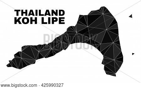 Lowpoly Koh Lipe Map. Polygonal Koh Lipe Map Vector Is Constructed With Random Triangles. Triangulat