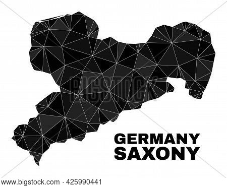 Low-poly Saxony Land Map. Polygonal Saxony Land Map Vector Is Combined Of Scattered Triangles. Trian