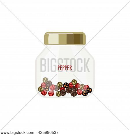 Set Of Different Varieties Of Pepper In Can With Inscription. Peppercorn Mix. Organic Product Flat.