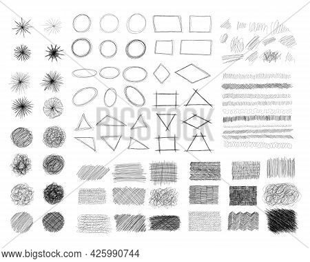 Ink Pen Scrawl Collection - Various Shapes Of Hand Drawn Scribble Line Drawings.