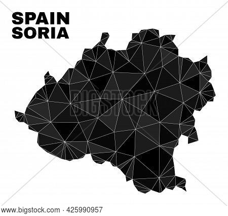 Lowpoly Soria Province Map. Polygonal Soria Province Map Vector Combined Of Random Triangles. Triang