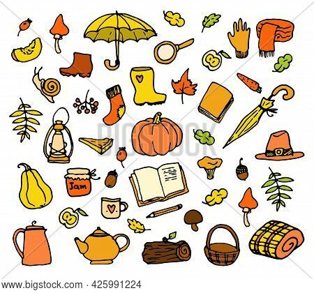 Vector Set Of Autumn Icons In Yellow-orange Colors. Hand-drawn In Doodle Style Autumn Insulated Pump
