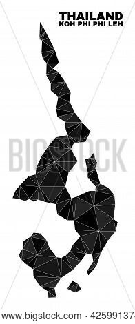 Lowpoly Koh Phi Leh Map. Polygonal Koh Phi Leh Map Vector Filled With Scattered Triangles. Triangula