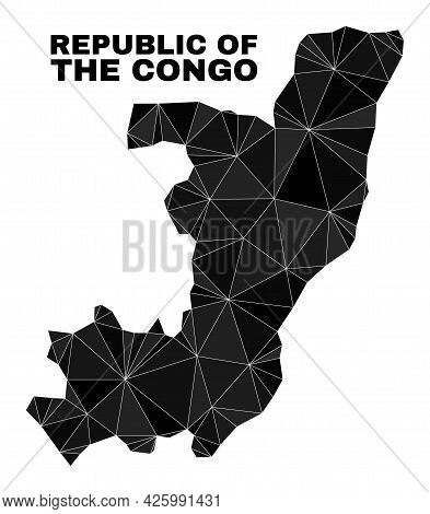 Low-poly Republic Of The Congo Map. Polygonal Republic Of The Congo Map Vector Filled Of Random Tria