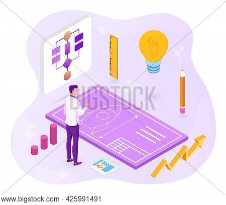 Project Development Concept. A Man Develops A Rocket Project With A Pencil And A Ruler. Luminous Lig