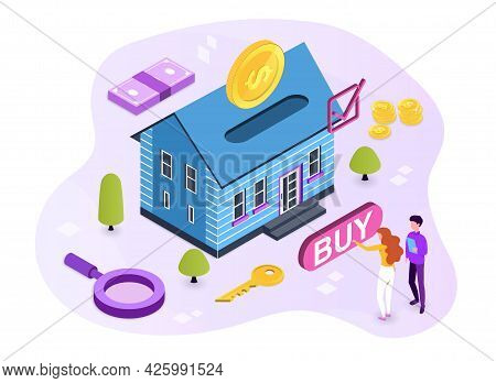 Rent And Mortgage Concept. The Girl Buys A House With A Mortgage, Gives The Bank An Initial Payment.