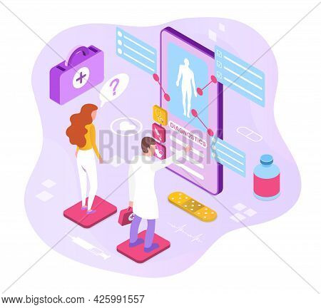 Concept Of Modern Consultations With A Doctor. The Woman Is Asked Questions About Her Health, And Th