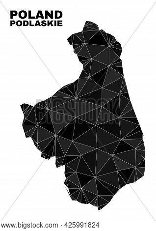 Low-poly Podlaskie Voivodeship Map. Polygonal Podlaskie Voivodeship Map Vector Is Combined With Rand