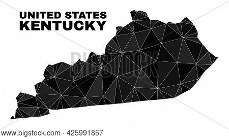 Lowpoly Kentucky State Map. Polygonal Kentucky State Map Vector Filled Of Randomized Triangles. Tria