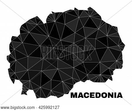 Low-poly Macedonia Map. Polygonal Macedonia Map Vector Constructed With Scattered Triangles. Triangu
