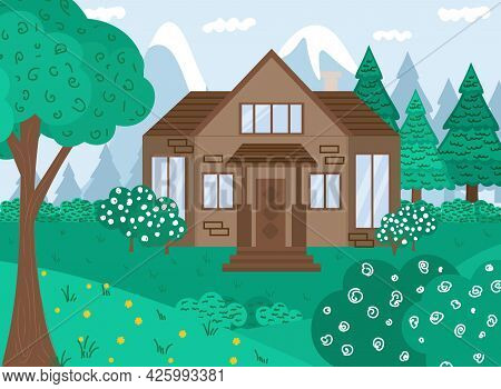 Vector Flat Illustration. Summer Forest Landscape With House And Trees. Family Suburban Home. House