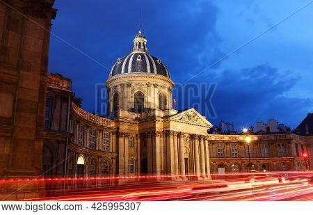 The View Of French Academy At Night , Paris, France.