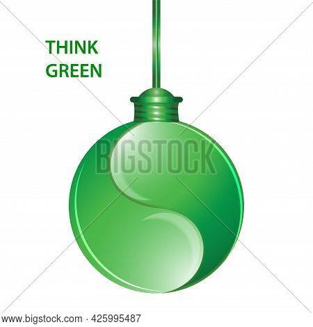 Think Green. Light Bulb On A Wire. Environmental Implications Of The Use Of Technology. Environmenta