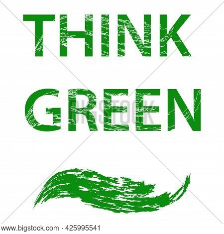 Think Green - An Abstract Geometric Element. Environmental Implications Of The Use Of Technology. En