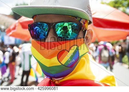 Medellin, Antioquia - Colombia. July 04, 202. The Streets Of The City Were Filled With Joy And Color