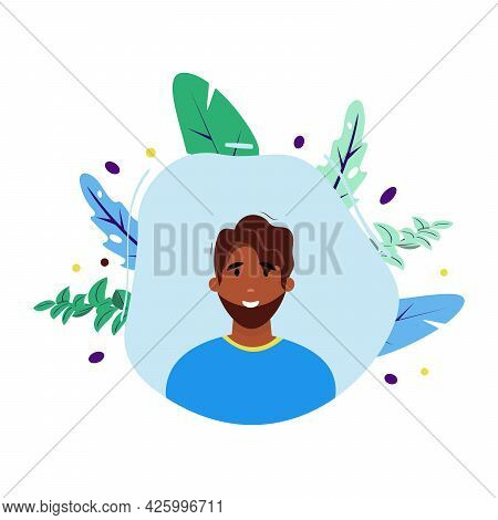 African Man Face. Dark Skin Male Character On Abstract Background. Happy, Young And Smiling Man.