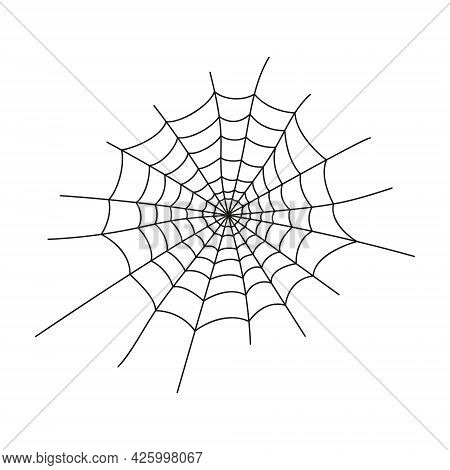 Cobweb Silhouette Isolated On White Background. Spider Web Icon. Design Element For Halloween Party