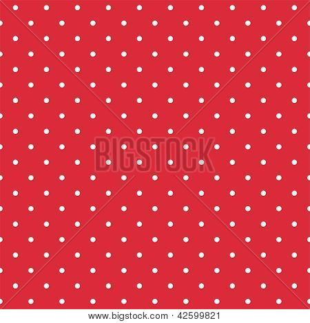 Retro seamless vector pattern or texture with small white polka dots on red background