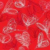 Seamless pattern with hand drawn scribble hearts on red background. Valentines Day Background Design poster