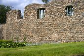 Ruins of the medieval Order castle built in the 1280's. Located in city of Valmiera Latvia. poster