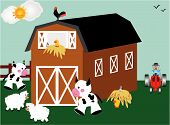 Barn tractor and farm animals in barnyard poster