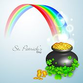 Irish shamrock leaves and golden coins pot flyer, banner or background for Happy St. Patrick's Day. EPS 10. poster