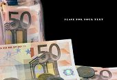 A few of 50 Euro bank notes with place for your text. poster
