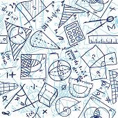 Seamless pattern background - illustration of mathematics drawings doodle style poster