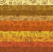 African style seamless pattern with  ancient tribal symbols of colorful striped background poster