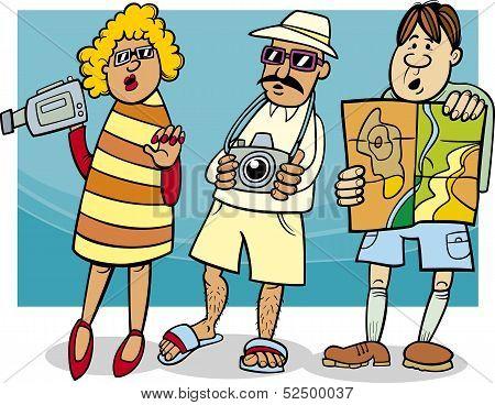 Tourist Group Cartoon Illustration