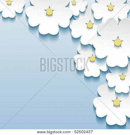 Blue - Gray Floral Abstract Background, 3D Flowers Sakura
