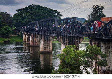 Tourists on the bridge over the river Kwai