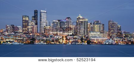 Seattle Skyline Downtown Office Buildings Nautical Transportation Lake Union