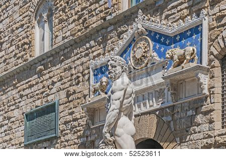 Hercules Statue At Signoria Square In Florence, Italy