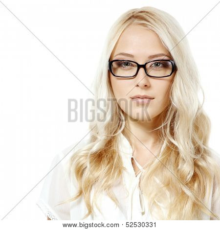 Eyewear glasses female portrait. Young beautiful woman wearing glasses, over white