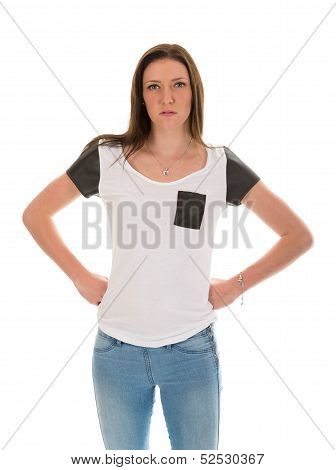 Angry and impatient young woman