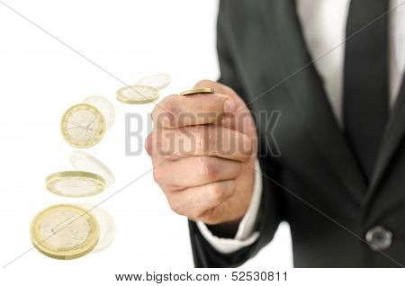 Motion Blur Of Tossing A Coin