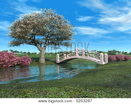 Flowering Tree And Pink Bridge