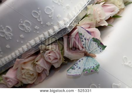 Butterfly On Wedding Cake