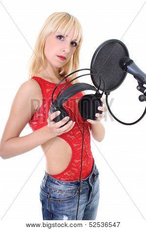 Female Singer Over White