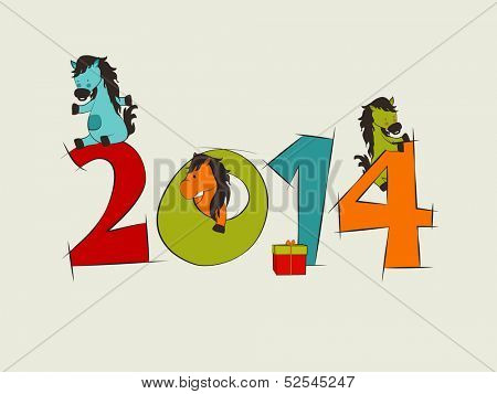 Colorful Happy New Year 2014 celebration poster, banner or flyer design with cartoon illustration of Chinese Symbol for the year Horse.