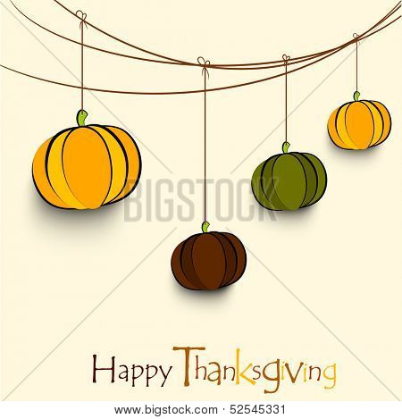 Vintage Happy Thanksgiving background with hanging pumpkins.  poster