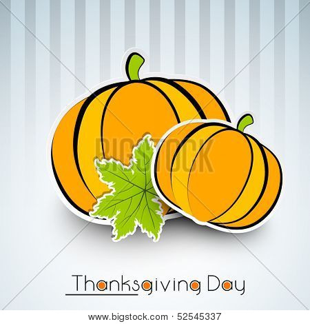 Vintage Happy Thanksgiving Day background with pumpkin and maple leaf.  poster