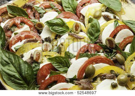 Sliced Tomatoes and Mozzarella