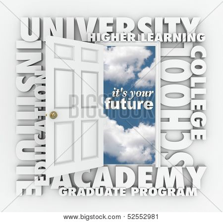A door opening to the words It's Your Future surrounded by terms such as college, university, school, institute, education, academy, graduate program and higher learning