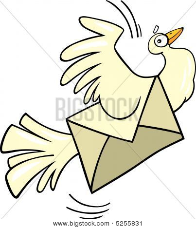 cartoon vector illustration of mail pigeon flying poster